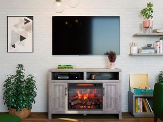 Greentouch 48 in W Weathered Gray Infrared Quartz Electric Fireplace