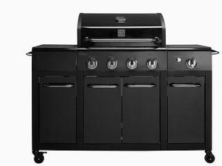 Kenmore Two Tone Black On Black 4 Burner liquid Propane Gas Grill with 1 Side Burner