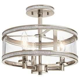 Kichler Angelica 13 in W Polished nickel Clear Glass Semi Flush Mount light