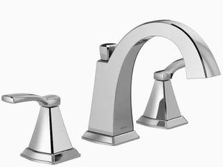 Delta Flynn Chrome 2 Handle Widespread Sense Bathroom Sink Faucet W  Drain