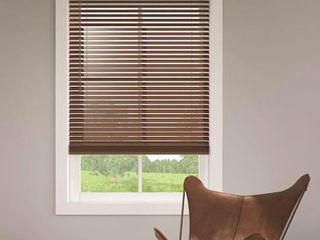 Open Box levolor Brown Trim go Walnut Faux Wood Blind 27 In X 64 In  Set of 2