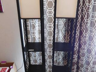 2  Etagere Black Floor lamp Organizer Storage Shelves with linen Shade 63 3 in  Tall