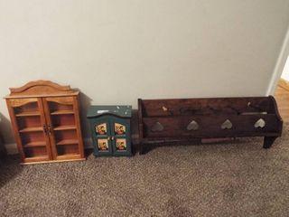 2  wood wall shelf s and a jewelry box