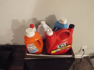 lot of various laundry detergent