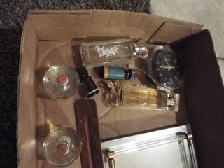 lot of various perfume  small clock and glass vanity tray