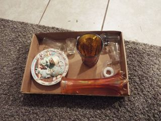 lot with shot glass s and precious moment decor
