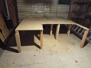 large homemade saw table bench  97  W x 98  D x 33  T    Buyer to disassemble