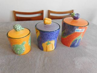 Colorful vegetable canister set   one lid has small chip see pics