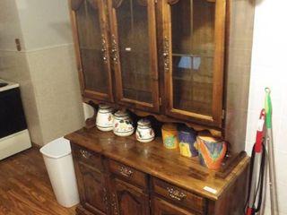 2 Piece Wooden kitchen hutch  75  T x 50  W x 18 1 2  D