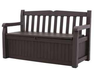 Keter Eden 70 Gallon Storage Bench Deck Box for Patio Furniture  Front Porch Decor and Outdoor Seating a Perfect to Store Garden Tools and Pool Toys Brown   Brown