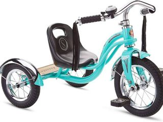 The Schwinn Roadster Kidas Tricycle is designed with a retro look and a steel trike frame  and its low center of gravity makes it easy to ride and perfect for young riders