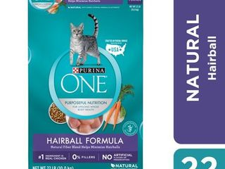 Purina ONE Hairball  Natural Dry Cat Food  Hairball Formula  22 lb  Bag
