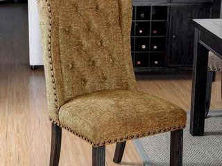 Sania III Collection Side Chair with Button Tufted linen like Fabric and Made of Solid Wood Wood Veneers in Antique