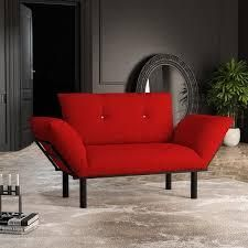2 Seater loveseat with Metal legs Red