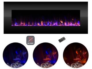 Black Electric Fireplace Wall Mounted Color Changing lED Fire and Ice Flames  NO HEAT  Remote Control  54 inch by Northwest Retail  377 99