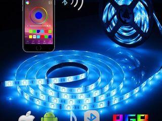 AlED lIGHT Bluetooth lED Strip lights  5050 16 4 ft 5 Meter 150 lED Stripes lights Smart Phone Controlled Waterproof RGB lED Band light for Home Outdoor Decoration