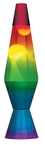 lamp lava 2179 14 5 Inch  with White Wax  Clear liquid  Tri Colored Globe  Hand Painted Base Rainbow