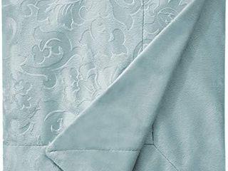Ravenna Home Classic Micro Mink Jacobean Throw Blanket  60  x 80  Oasis Blue