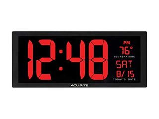 AcuRite 75127M 14 5 Inch large Red Oversized lED Clock with Indoor Temperature  Date and Kickstand  75172MDI  14 5 Inch  Black