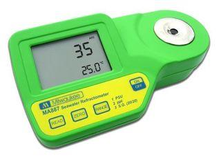Milwaukee MA887 Digital Salinity Refractometer with Automatic Temperature Compensation  Yellow lED  0 to 50 PSU   2 PSU Accuracy  1 PSU Resolution