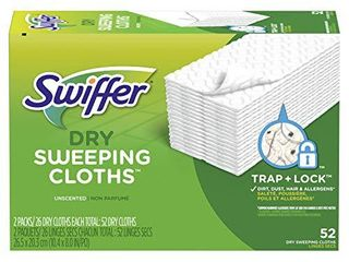 Swiffer Sweeper Dry Mop Refills for Floor Mopping and Cleaning  All Purpose Floor Cleaning Product  Unscented  52 Count  Packaging May Vary