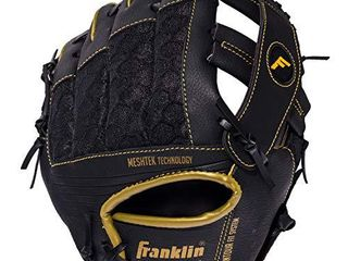 Franklin Sports Teeball Glove and Ball Set   Meshtek Teeball Glove and Foam Baseball   Black Gold   9 5  left Hand Throw