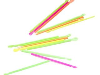 Perfect Stix Neon Concession Spoon Straw  Plastic Wrapped  Assorted Colors  8  length  Pack of 200