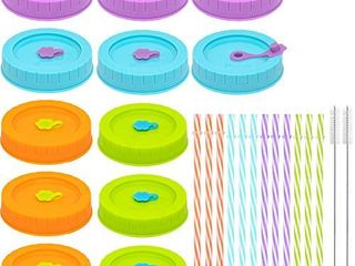 Plastic WIDE Mouth Mason Jar lids for Ball  Kerr  etc with Straw Hole Straws Silicone Rings Stoppers Clean Brush  Food Grade Colored Mason Canning Jar Drinking lids Food Storage Caps 26 Pack