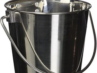 QT Dog Flat Sided Stainless Steel Bucket with Hooks  2 Quart