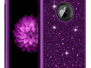lontect Compatible iPhone 8 Case  iPhone 7 Case luxury Glitter Sparkle Bling Heavy Duty Hybrid Sturdy High Impact Shockproof Protective Cover Case for Apple iPhone 8   iPhone 7   Shiny Purple Black