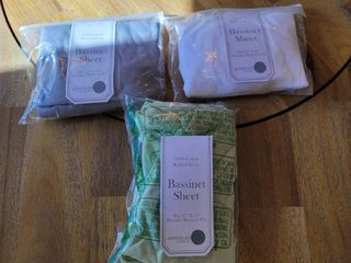 American Baby Company 100  Natural Cotton Jersey Knit Fitted Bassinet Sheet  Celery Gray White   Pack of 3