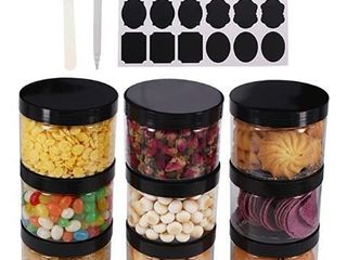 8oz Round Clear Plastic Jars With Black lids  A Spatula  A Pen   labels   BPA Free PET Container for Cosmetics  Cream  Bathroom  Kitchen  Gifts   Travel Plastic Slime Storage Jars by ZMYBCPACK
