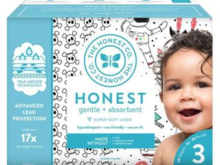 Honest Diapers  Bicycles   Bow Ties  Size 3  68 count