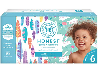 The Honest Company Super Club Size 4  120 Count  Painted Feathers   Bunnies