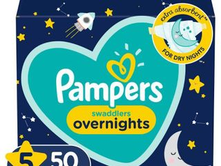 Pampers Swaddlers Soft and Absorbent Overnights Diapers  Size 5  50 Ct