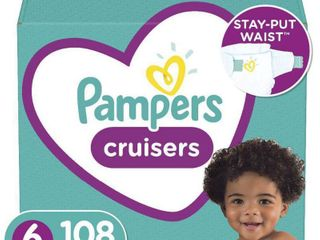 Pampers Cruisers Disposable Diapers One Month Supply   Size 6  108ct