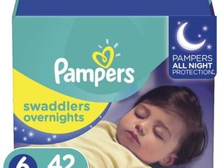 Pampers Swaddlers Soft and Absorbent Overnights Diapers  Size 6  42 Ct
