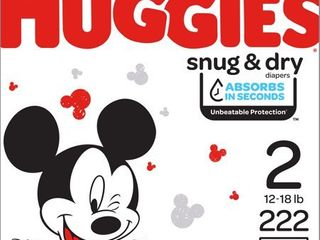 Huggies Snug   Dry Diapers  Size 2  fits 12 18 lb  222 Ct  One Month Supply
