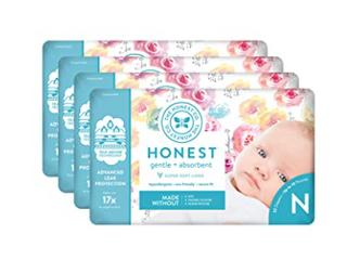 The Honest Company Diapers   Newborn  Size 0   Rose Blossom Print Newborn