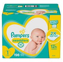 Pampers Swaddlers Disposable Diapers One Month Supply   Size 1  198ct