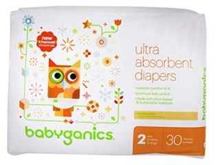 Baby Babyganics Ultra Absorbent Diapers  Size 2  12 18lbs  216 Diapers