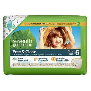 Seventh Generation Free and Clear Sensitive Skin Baby Diapers with Animal Prints  Size 6  100 Count