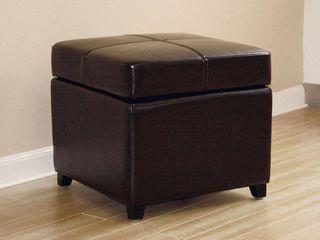 Baxton Studio Dark Brown Full leather Storage Cube Ottoman