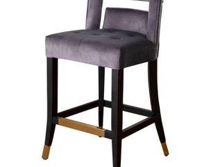 Abbyson Jemma Velvet Counter Stool  Retail 230 99 gray