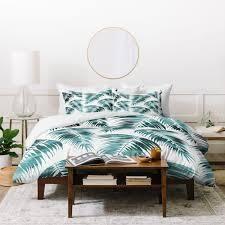 Schatzi Brown Maui Palm Green and White Duvet Cover Set  Retail 226 49