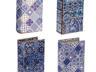 A B Home Set of 4  5 5x4x2  Blue Aand White Book Boxes