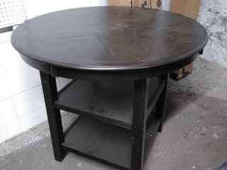 brown dining table scuffed