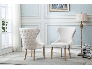 best quality furniture button tufted wingback chairs set of 2 beige light rustic  Retail 659 99