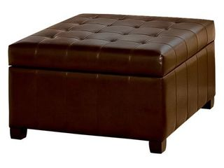 No   Brown   Bonded leather   Medium   Modern   Contemporary   Square   Solid   Storage   Wood Finish   Solid   Storage Ottoman   Bonded leather Wood   Assembled  Retail 228 49