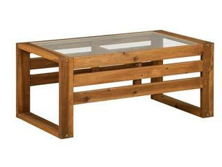 Open Side Wood Coffee Table   Brown